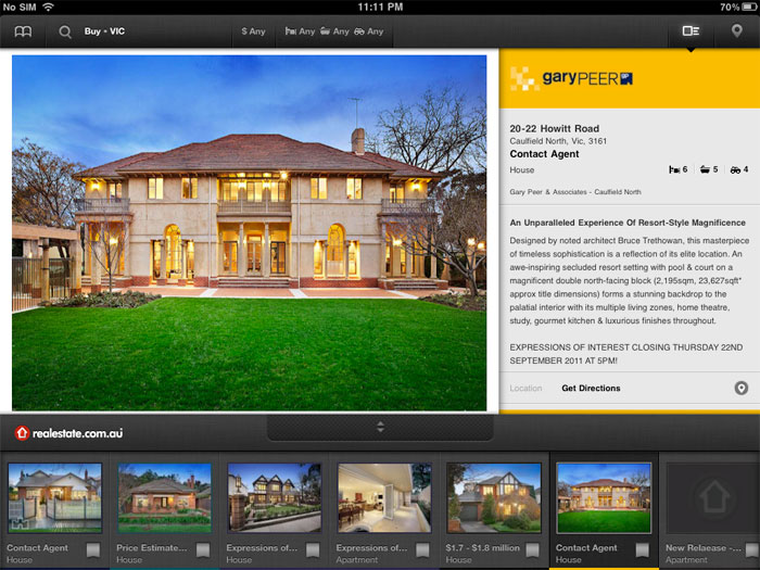 """The realestate.com.au iPad app ""Money Shot"" as we call it."""